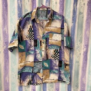 Gorgeous vintage abstract art cotton shirt Large